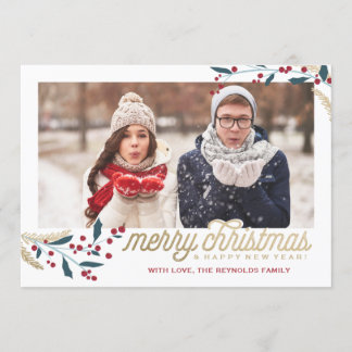 Gold Red Berries Photo Frame | Merry Christmas Holiday Card