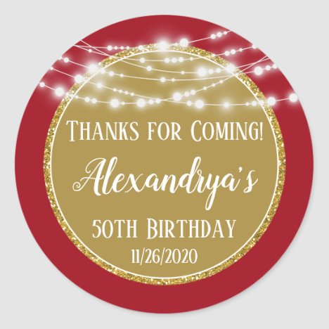 Gold Red Birthday Thanks For Coming Favor Tag