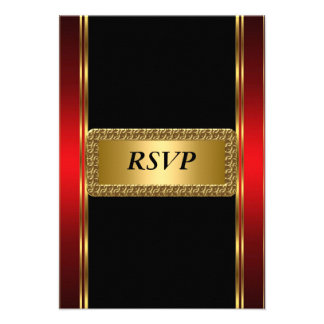 Gold  red Black Art Deco RSVP Personalized Announcement