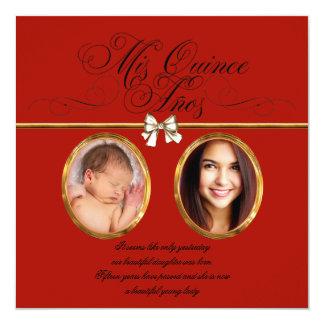 Gold Red Black Photo Quinceanera Invitations