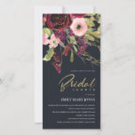GOLD RED BLACK ROSE FLORAL BRIDAL SHOWER INVITE