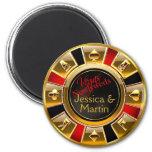 Gold, Red & Black Vegas Casino Chip Favor 2 Inch Round Magnet