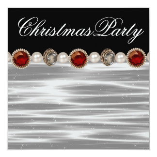 Gold Red Black White Christmas Party Invitation