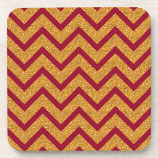 Gold Red Chevron Stripes Pattern Beverage Coaster