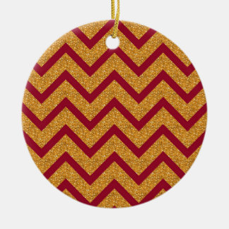 Gold Red Chevron Stripes Pattern Ceramic Ornament