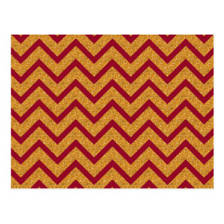 Gold Red Chevron Stripes Pattern Postcard