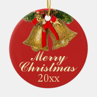 Gold Red Christmas Bells 2017 Ornament