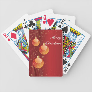 Gold Red Christmas Ornaments Playing Cards