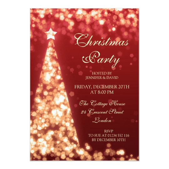 Gold Red Christmas Tree Holiday Party Invitation