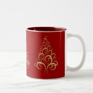 Gold red Christmas tree Two-Tone Coffee Mug