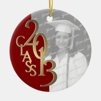 Gold Red Class 2013 Graduation Photo Ceramic Ornament