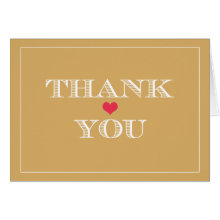 Gold Red Cute Heart Wedding Thank You Cards