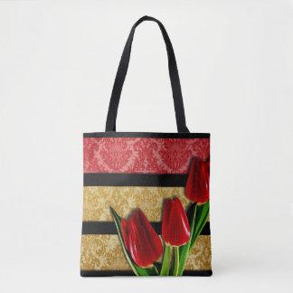 Gold Red Damask Black Stripes & Tulips Tote Bag
