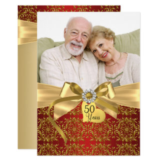 Gold Red Damask & Bow Photo 50th Anniversary Card