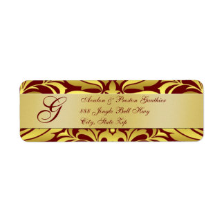 Gold Red Damask Christmas Address Labels