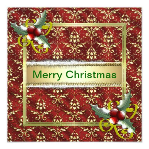 Gold Red Damask Christmas Template 5.25x5.25 Square Paper Invitation Card