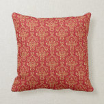 Gold Red Damask throw pillow