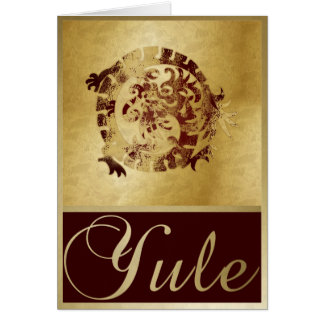 Gold Red Dragon & Frames - Yule Greeting Card