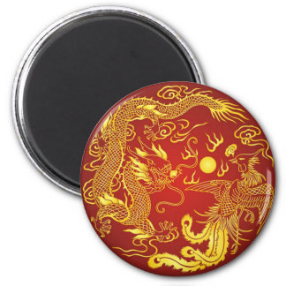 Gold Red Dragon Phoenix Chinese Wedding Favor 2 Inch Round Magnet