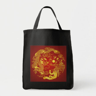 Gold Red Dragon Phoenix Chinese Wedding Favor Tote Bags