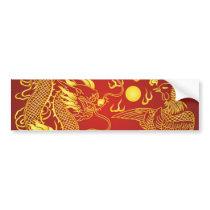 Gold Red Dragon Phoenix Chinese Wedding Favor Bumper Sticker