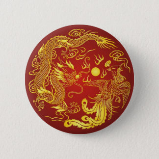 Gold Red Dragon Phoenix Chinese Wedding Favor Button