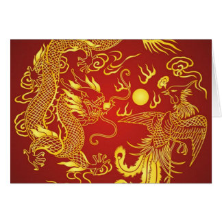 Gold Red Dragon Phoenix Chinese Wedding Favor Card
