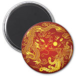Gold Red Dragon Phoenix Chinese Wedding Favor Refrigerator Magnet
