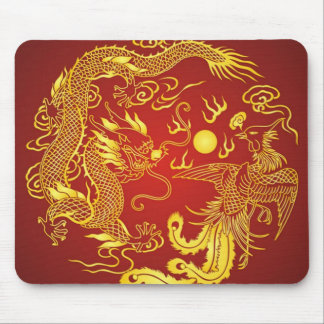 Gold Red Dragon Phoenix Chinese Wedding Favor Mouse Pad