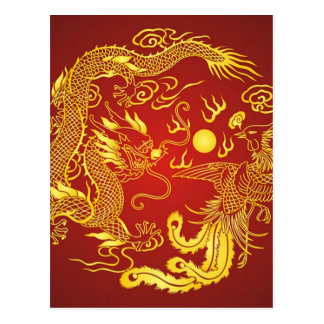 Gold Red Dragon Phoenix Chinese Wedding Favor Postcard