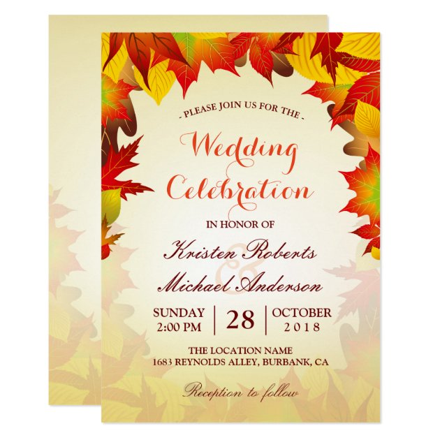 Gold Red Fall Leaves   Autumn Wedding Celebration Card