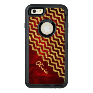 Gold Red Faux Glitter Chevron OtterBox iPhone 6/6s Plus Case
