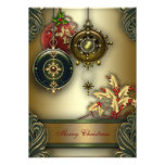 Gold Red Green Christmas Holiday Party Personalized Announcements
