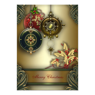 Gold Red Green Christmas Holiday Party 5x7 Paper Invitation Card