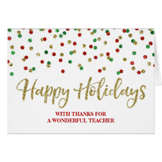 Gold Red Green Confetti Teacher Christmas Card