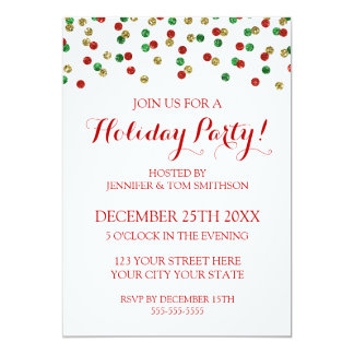 Gold Red Green Glitter Confetti Christmas Party Card