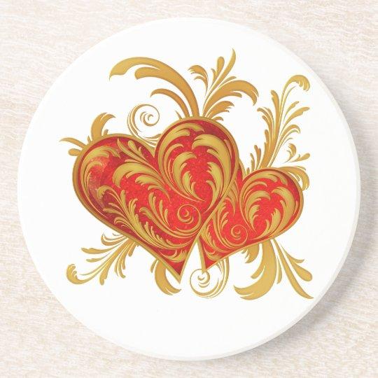Gold Red Hearts Filigree Coaster