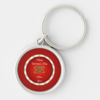 Gold Red Hearts Valentine's Day Key Chain