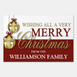 Gold/Red Jingle Bells Merry Christmas Lawn Sign