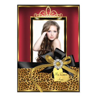 Gold Red Leopard Print & Bow Photo Quinceanera Card