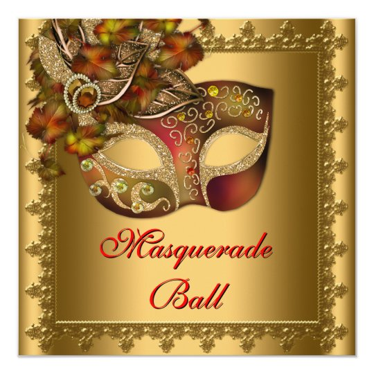 Gold Red Mask Gold Red Masquerade Party Card