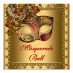 """Gold Red Mask Gold Red Masquerade Party 5.25"""" Square Invitation Card"""