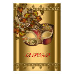 Gold Red Mask Gold Red Masquerade Party RSVP Personalized Invitation