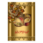 """Gold Red Mask Gold Red Masquerade Party RSVP 3.5"""" X 5"""" Invitation Card"""
