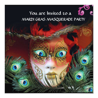GOLD RED MASK,PEACOCK FEATHERS MASQUERADE PARTY, CARD