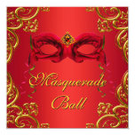 """Gold Red Mask Red Masquerade Party 5.25"""" Square Invitation Card"""