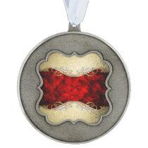 gold,red,metallic,modern,pattern,cool,elegant,chic pewter ornament