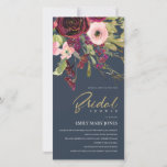 GOLD RED NAVY PINK ROSE FLORA BRIDAL SHOWER INVITE