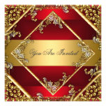Gold Red Party Invitation Floral Frame Personalized Invitations