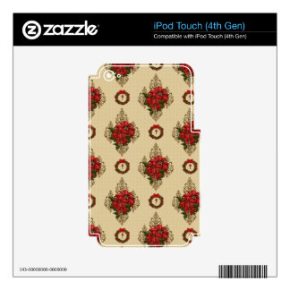 Gold Red Poinsettia & Wreath Damask iPod Touch 4G Decals